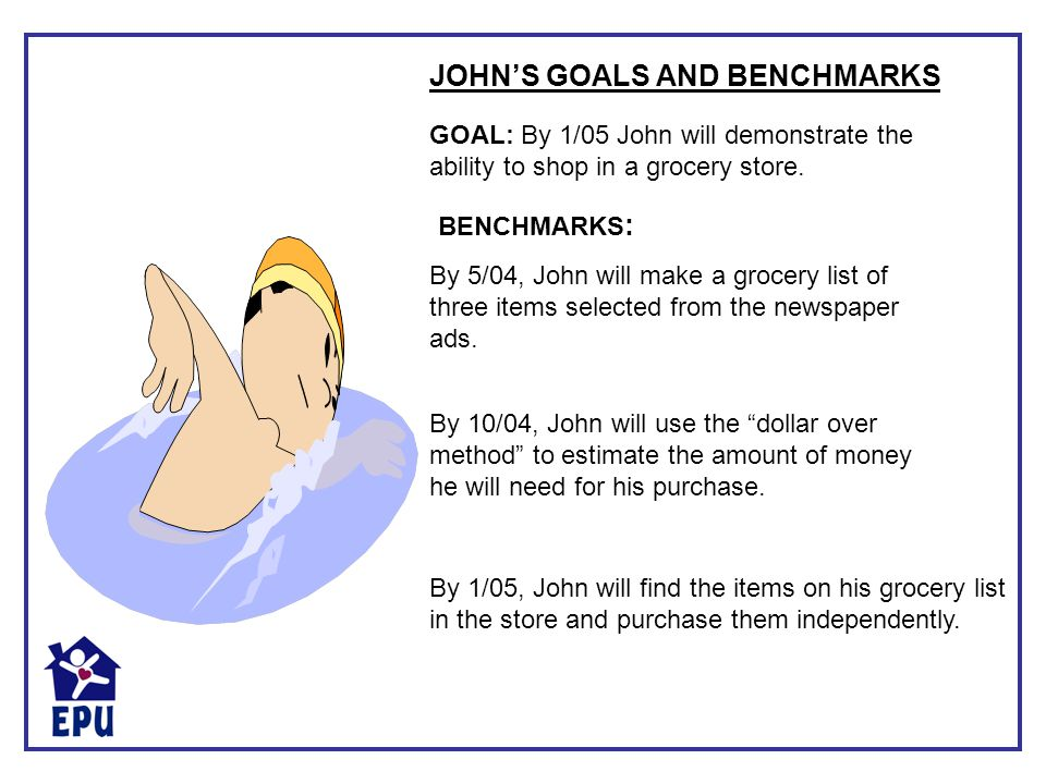 By 1/05, John will find the items on his grocery list in the store and purchase them independently. GOAL: By 1/05 John will demonstrate the ability to