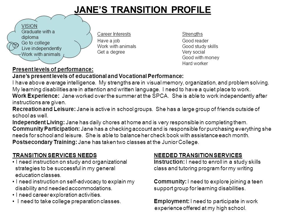 JANE'S TRANSITION PROFILE Career InterestsStrengths Have a jobGood reader Work with animalsGood study skills Get a degreeVery social Good with money Hard worker Present levels of performance: Jane's present levels of educational and Vocational Performance: I have above average intelligence.