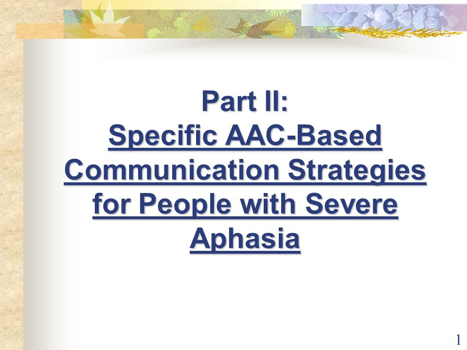 1 Part II: Specific AAC-Based Communication Strategies for People with Severe Aphasia