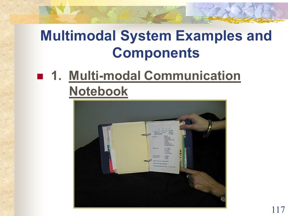 117 Multimodal System Examples and Components 1. Multi-modal Communication Notebook