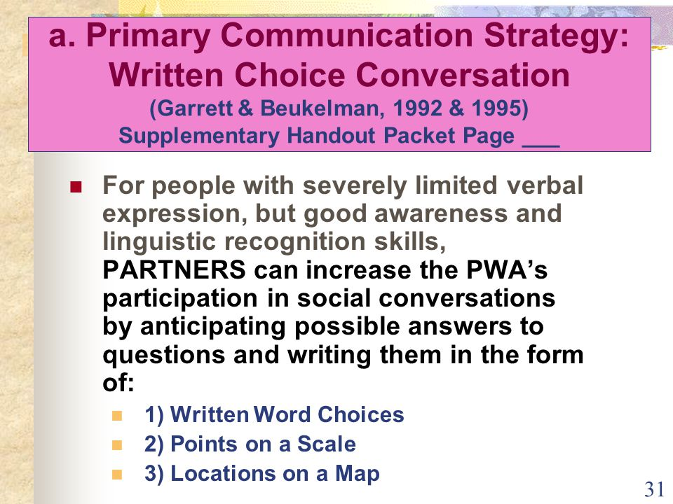 31 a. Primary Communication Strategy: Written Choice Conversation (Garrett & Beukelman, 1992 & 1995) Supplementary Handout Packet Page ___ For people