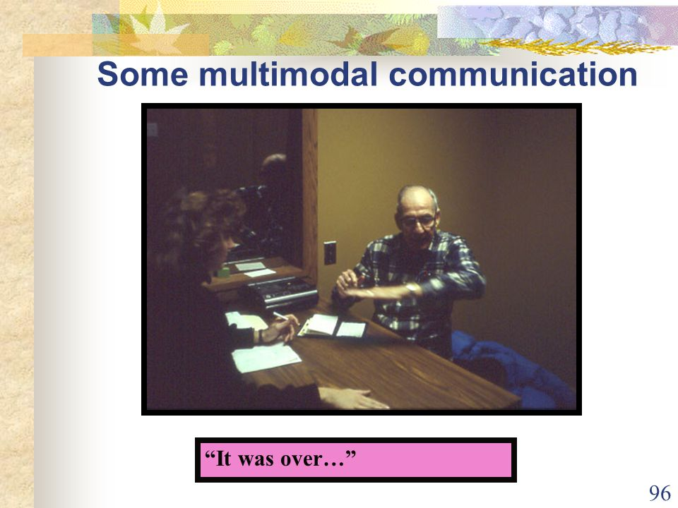 96 Some multimodal communication It was over…