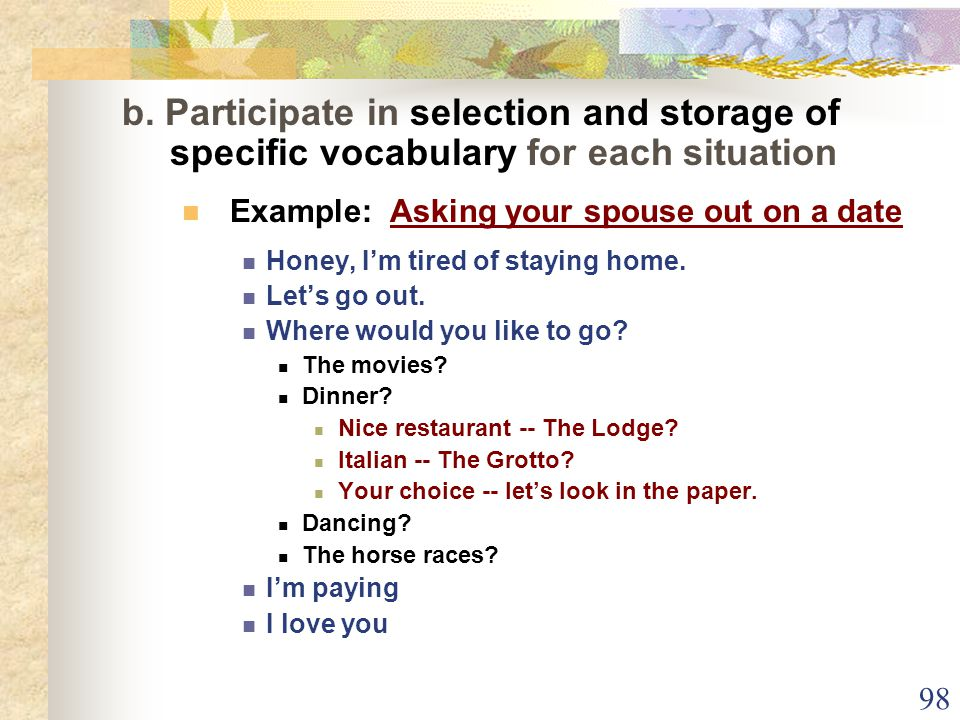 98 b. Participate in selection and storage of specific vocabulary for each situation Example: Asking your spouse out on a date Honey, I'm tired of sta