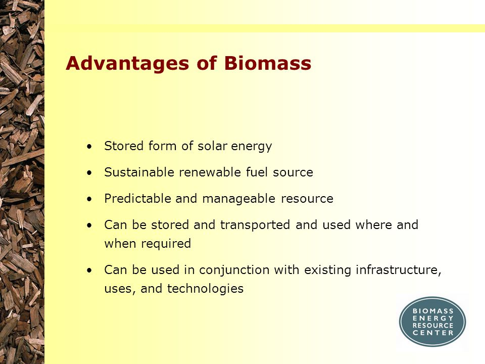 Advantages of Biomass Stored form of solar energy Sustainable renewable fuel source Predictable and manageable resource Can be stored and transported