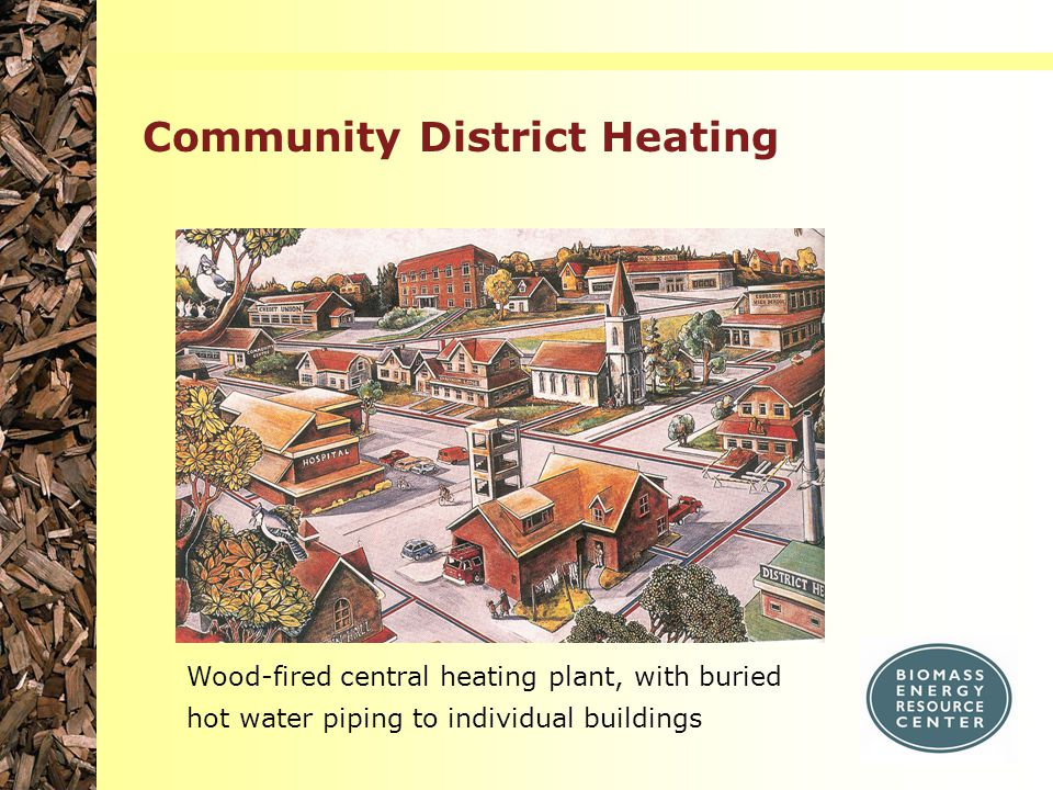 Community District Heating Wood-fired central heating plant, with buried hot water piping to individual buildings