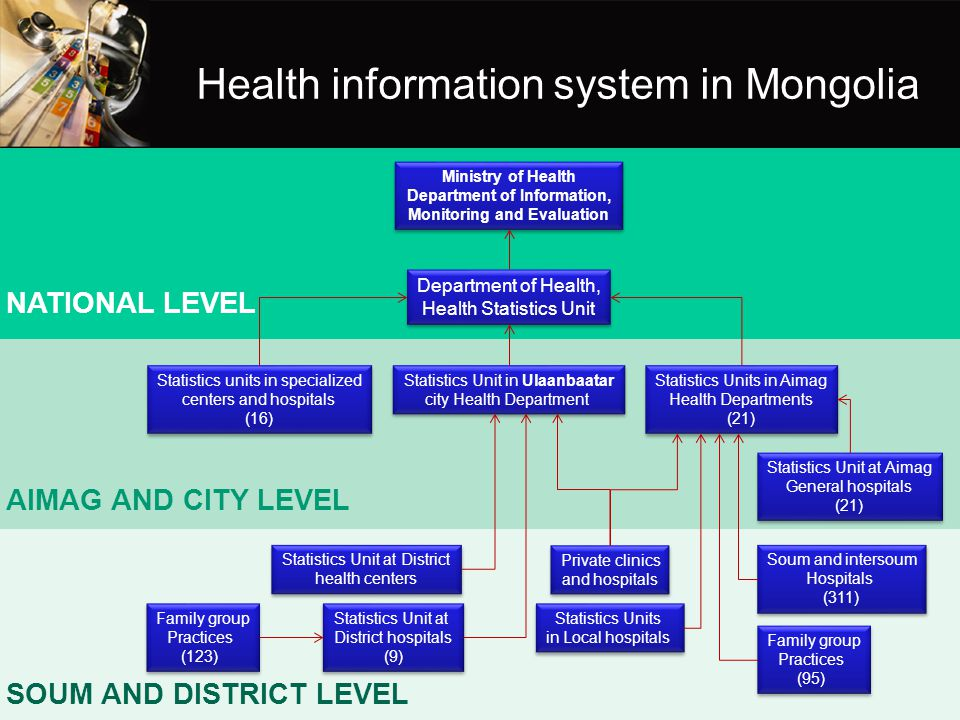 Health information system in Mongolia Ministry of Health Department of Information, Monitoring and Evaluation Ministry of Health Department of Informa