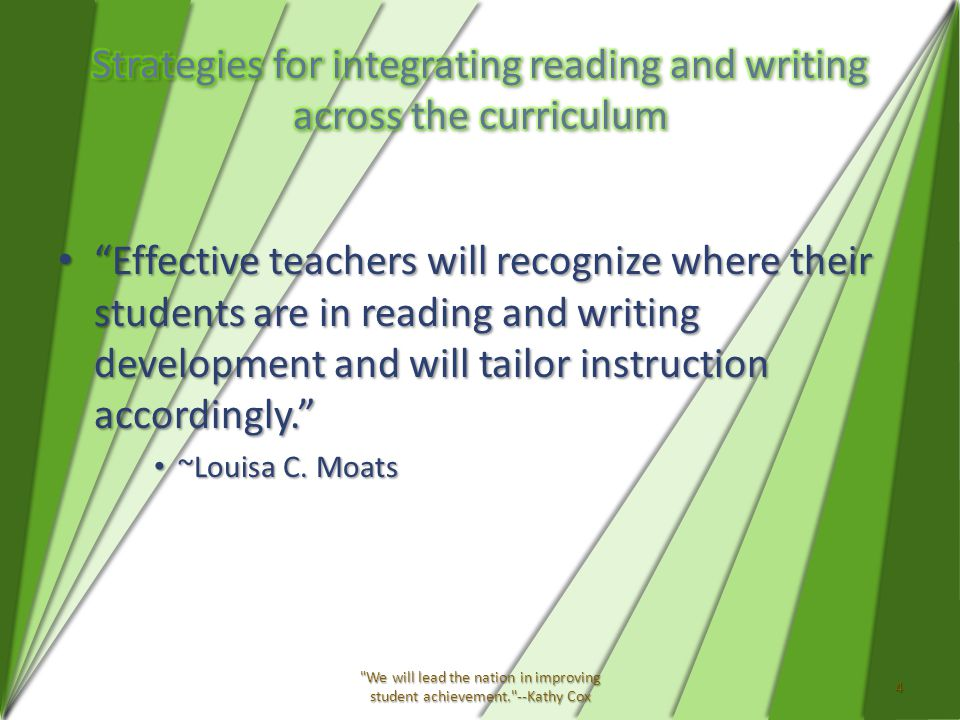 Effective teachers will recognize where their students are in reading and writing development and will tailor instruction accordingly. Effective teachers will recognize where their students are in reading and writing development and will tailor instruction accordingly. ~Louisa C.