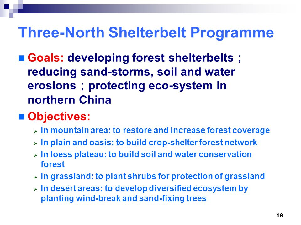 18 Three-North Shelterbelt Programme Goals: developing forest shelterbelts ; reducing sand-storms, soil and water erosions ; protecting eco-system in northern China Objectives:  In mountain area: to restore and increase forest coverage  In plain and oasis: to build crop-shelter forest network  In loess plateau: to build soil and water conservation forest  In grassland: to plant shrubs for protection of grassland  In desert areas: to develop diversified ecosystem by planting wind-break and sand-fixing trees