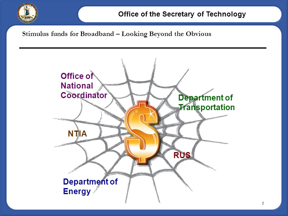 Office of the Secretary of Technology Page 12 Stimulus funds for Broadband – Looking Beyond the Obvious NTIA RUS Office of National Coordinator Depart