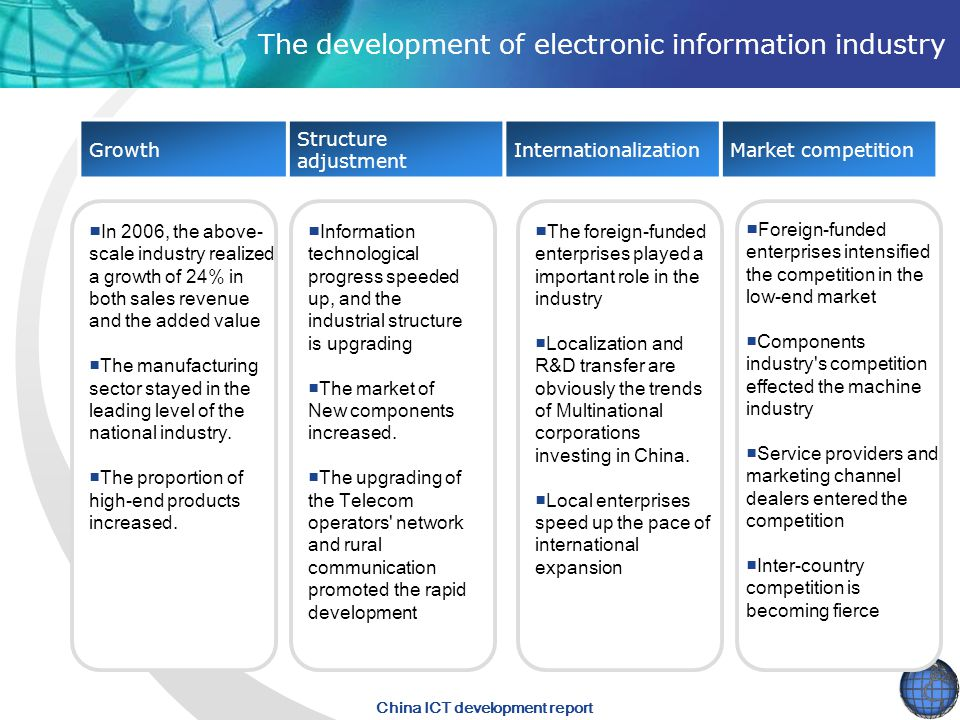 China ICT development report The development of electronic information industry Growth Structure adjustment InternationalizationMarket competition ■In 2006, the above- scale industry realized a growth of 24% in both sales revenue and the added value ■The manufacturing sector stayed in the leading level of the national industry.