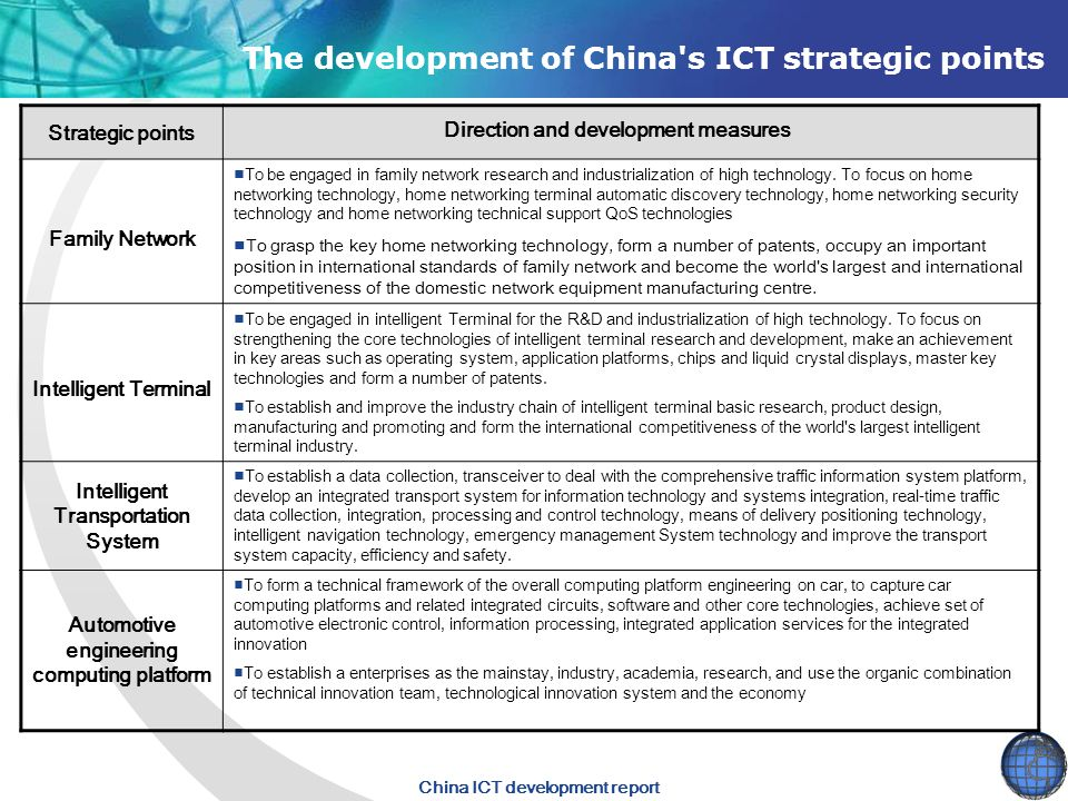 China ICT development report Family Network ■To be engaged in family network research and industrialization of high technology.