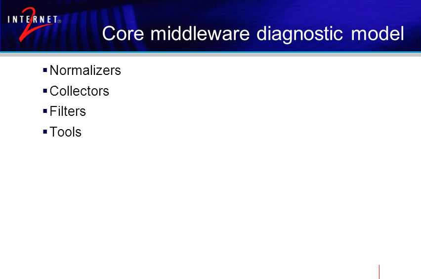 Core middleware diagnostic model  Normalizers  Collectors  Filters  Tools
