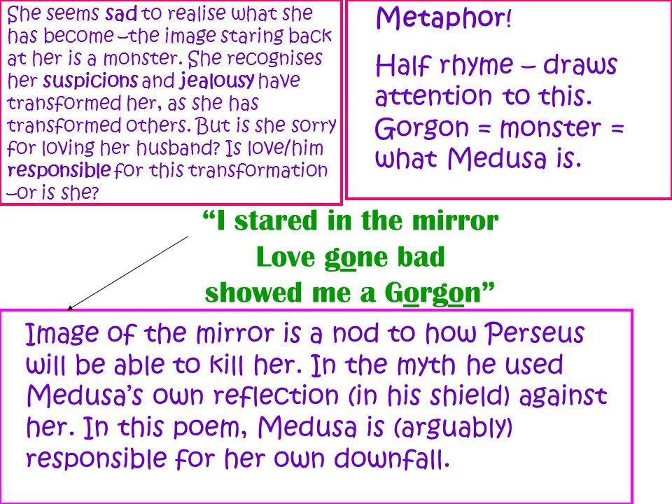 Image of the mirror is a nod to how Perseus will be able to kill her. In the myth he used Medusa's own reflection (in his shield) against her. In this