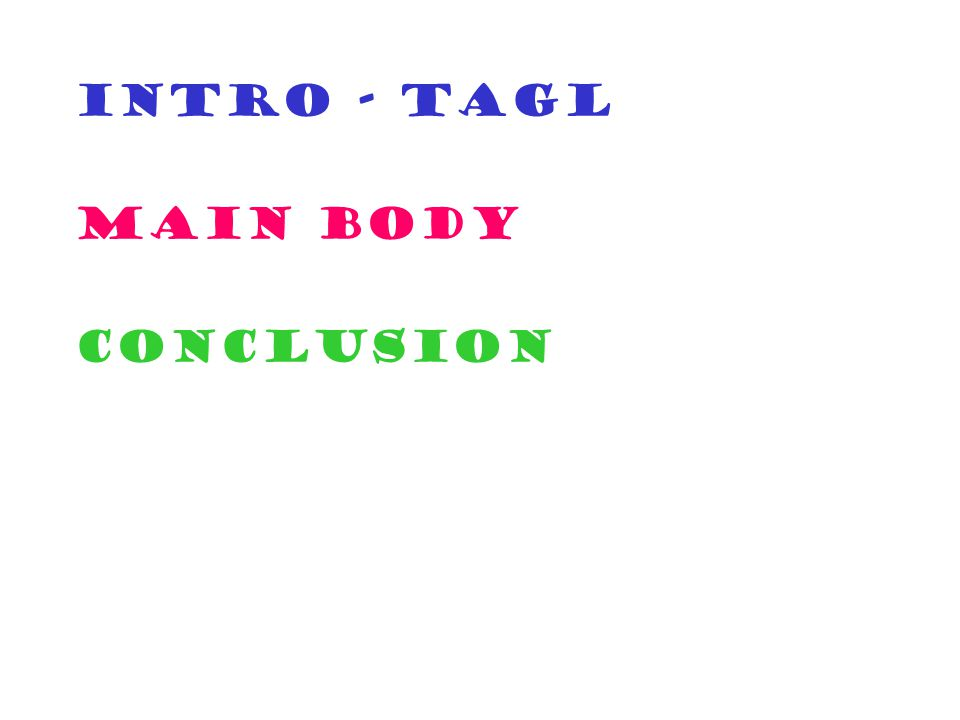 INTRO - TAGL MAIN BODY CONCLUSION