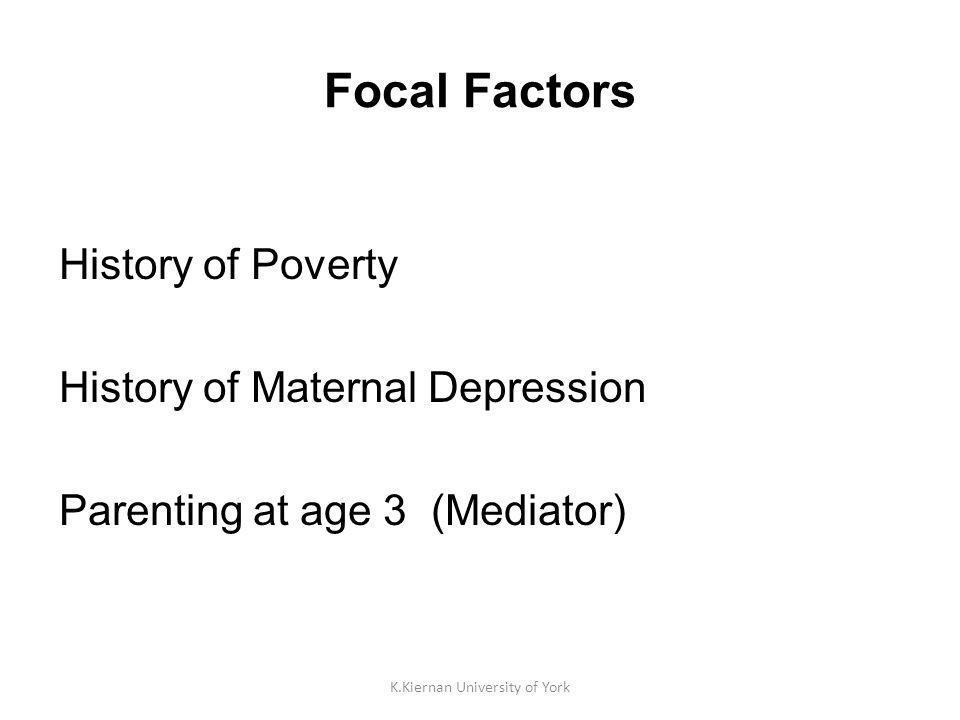 K.Kiernan University of York Focal Factors History of Poverty History of Maternal Depression Parenting at age 3 (Mediator)