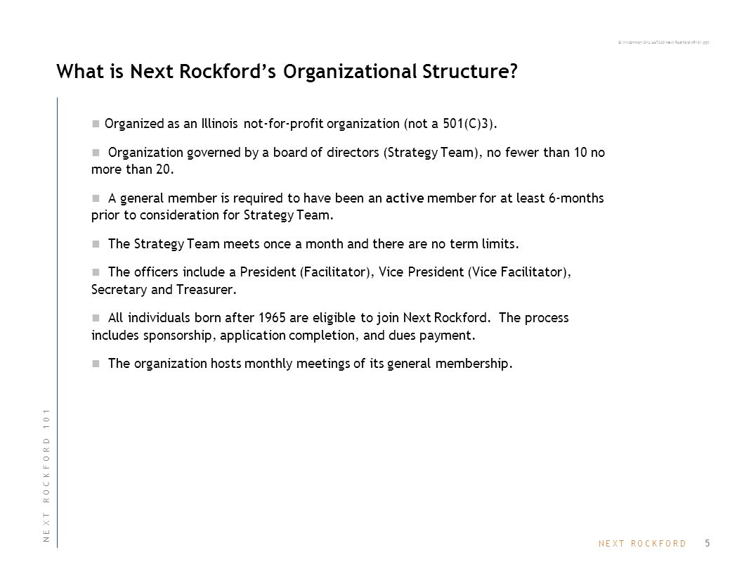 N E X T R O C K F O R DN E X T R O C K F O R D G:\MMcommon\CML\667200\Next Rockford\NR101.ppt What is Next Rockford's Organizational Structure.