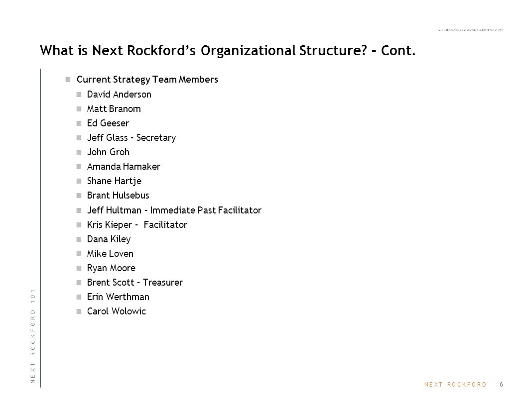 N E X T R O C K F O R DN E X T R O C K F O R D G:\MMcommon\CML\667200\Next Rockford\NR101.ppt What is Next Rockford's Organizational Structure? – Cont