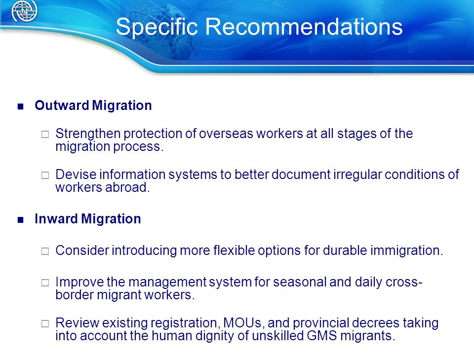 Outward Migration  Strengthen protection of overseas workers at all stages of the migration process.