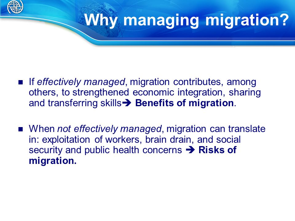 Challenges of MM Migrants' diversity and migration cross-cutting nature  different challenges and opportunities that require different programmes and policy responses.
