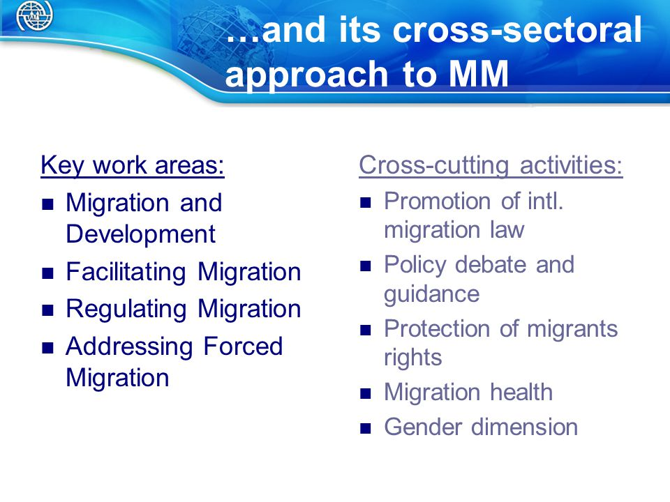 …and its cross-sectoral approach to MM Key work areas: Migration and Development Facilitating Migration Regulating Migration Addressing Forced Migration Cross-cutting activities : Promotion of intl.