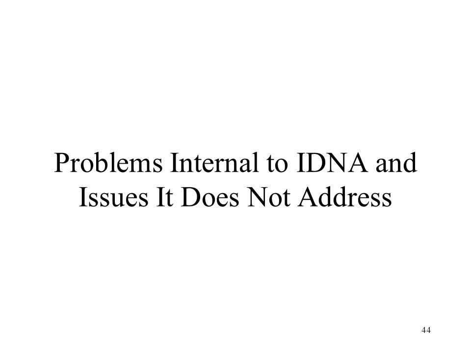 44 Problems Internal to IDNA and Issues It Does Not Address