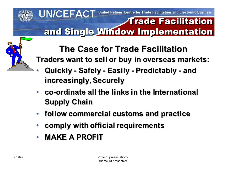 The Case for Trade Facilitation Traders want to sell or buy in overseas markets: Quickly - Safely - Easily - Predictably - and increasingly, SecurelyQ