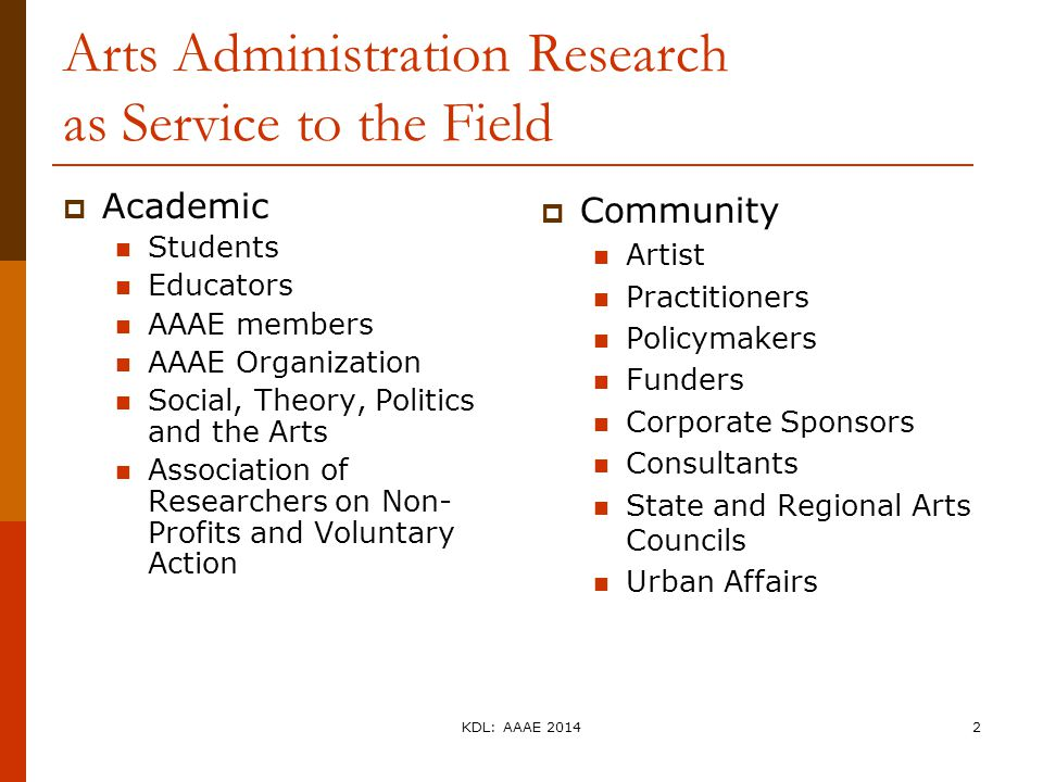 Arts Administration Research as Service to the Field  Academic Students Educators AAAE members AAAE Organization Social, Theory, Politics and the Art