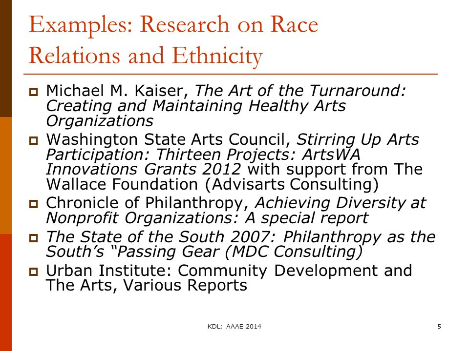 Examples: Research on Race Relations and Ethnicity  Michael M. Kaiser, The Art of the Turnaround: Creating and Maintaining Healthy Arts Organizations