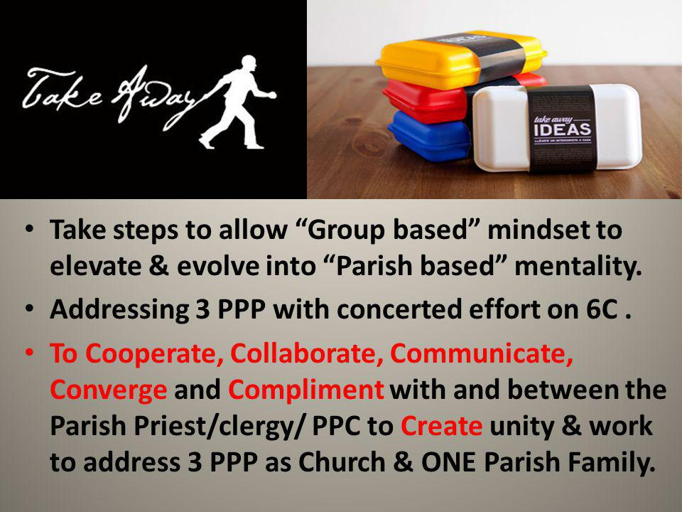 Take steps to allow Group based mindset to elevate & evolve into Parish based mentality.