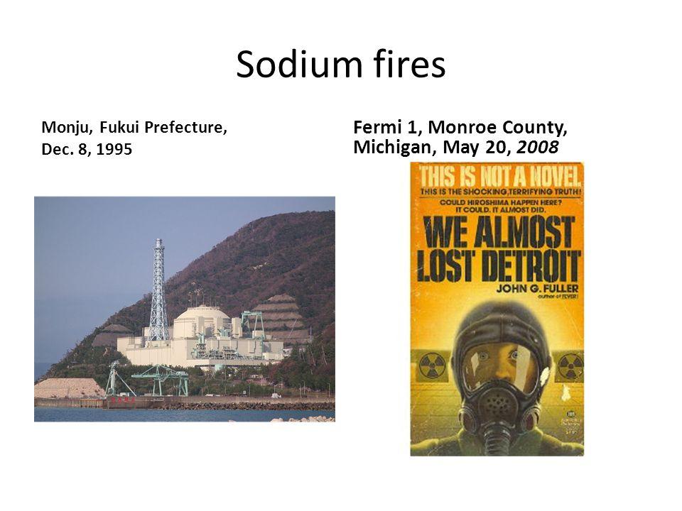 Sodium fires Monju, Fukui Prefecture, Dec. 8, 1995 Fermi 1, Monroe County, Michigan, May 20, 2008