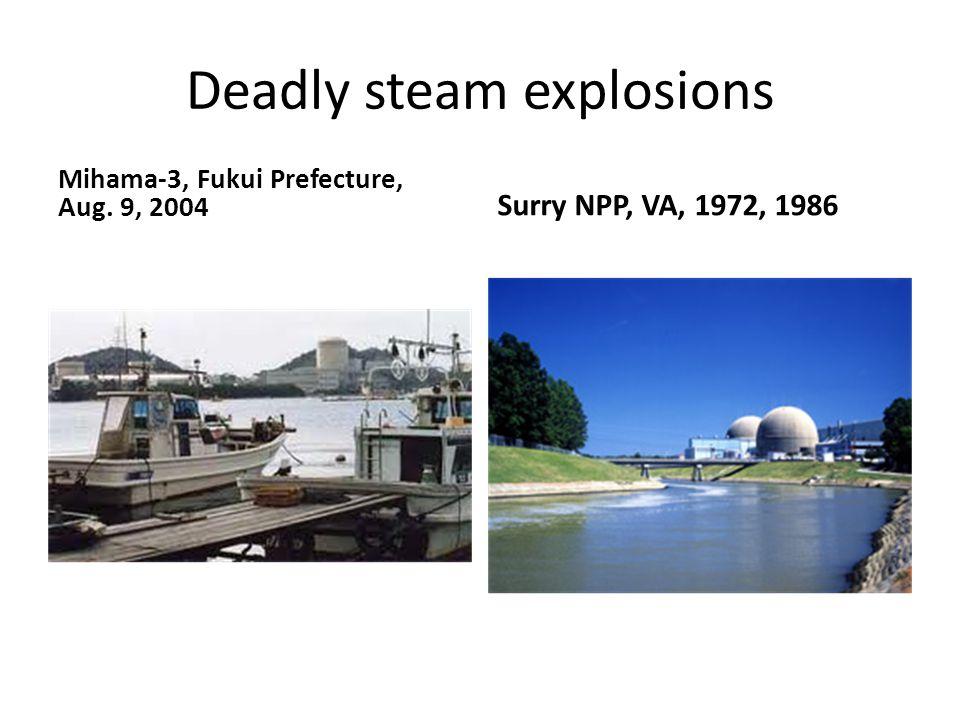 Deadly steam explosions Mihama-3, Fukui Prefecture, Aug. 9, 2004 Surry NPP, VA, 1972, 1986