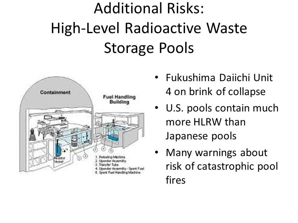 Additional Risks: High-Level Radioactive Waste Storage Pools Fukushima Daiichi Unit 4 on brink of collapse U.S.