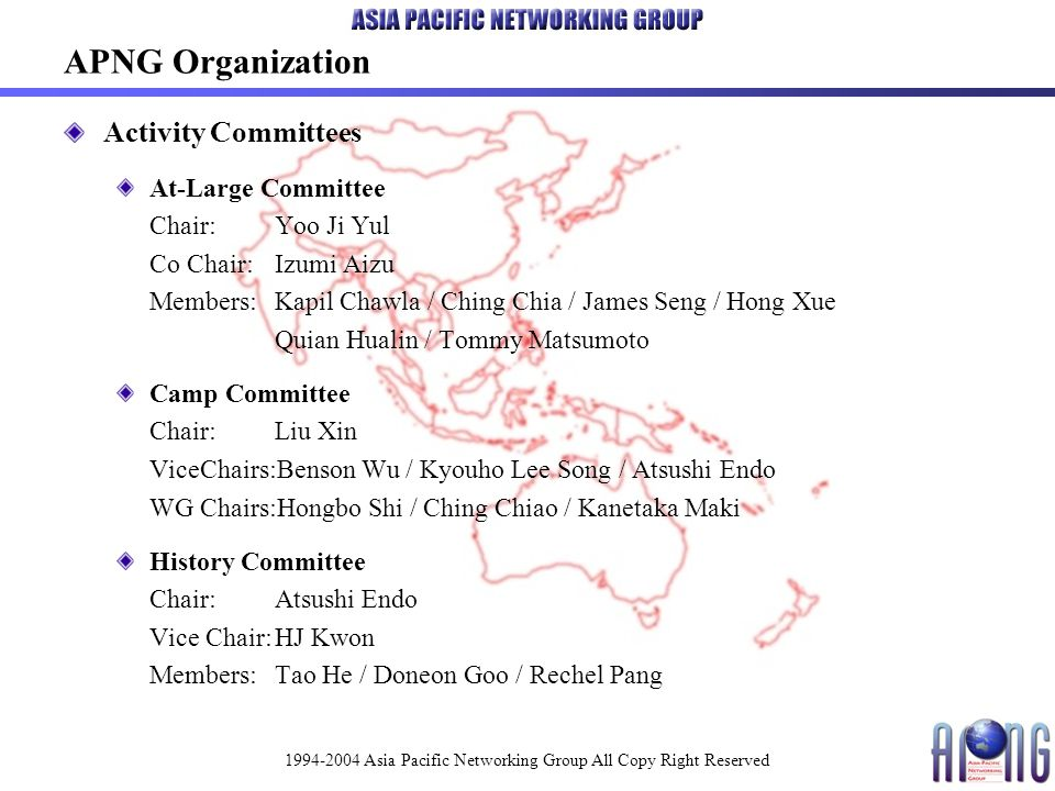 1994-2004 Asia Pacific Networking Group All Copy Right Reserved APNG Server System Configuration / Web / Mailing Lists APNG Server is hosted by NTT Communications iDC in Tokyo Japan.