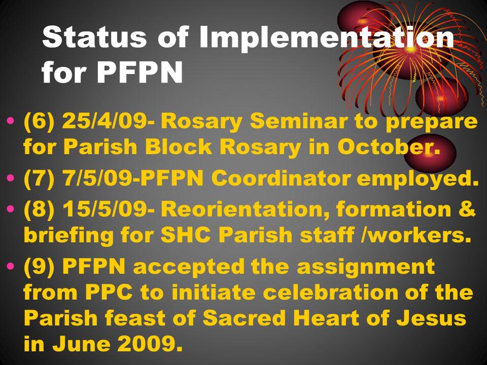Status of Implementation for PFPN (6) 25/4/09- Rosary Seminar to prepare for Parish Block Rosary in October.