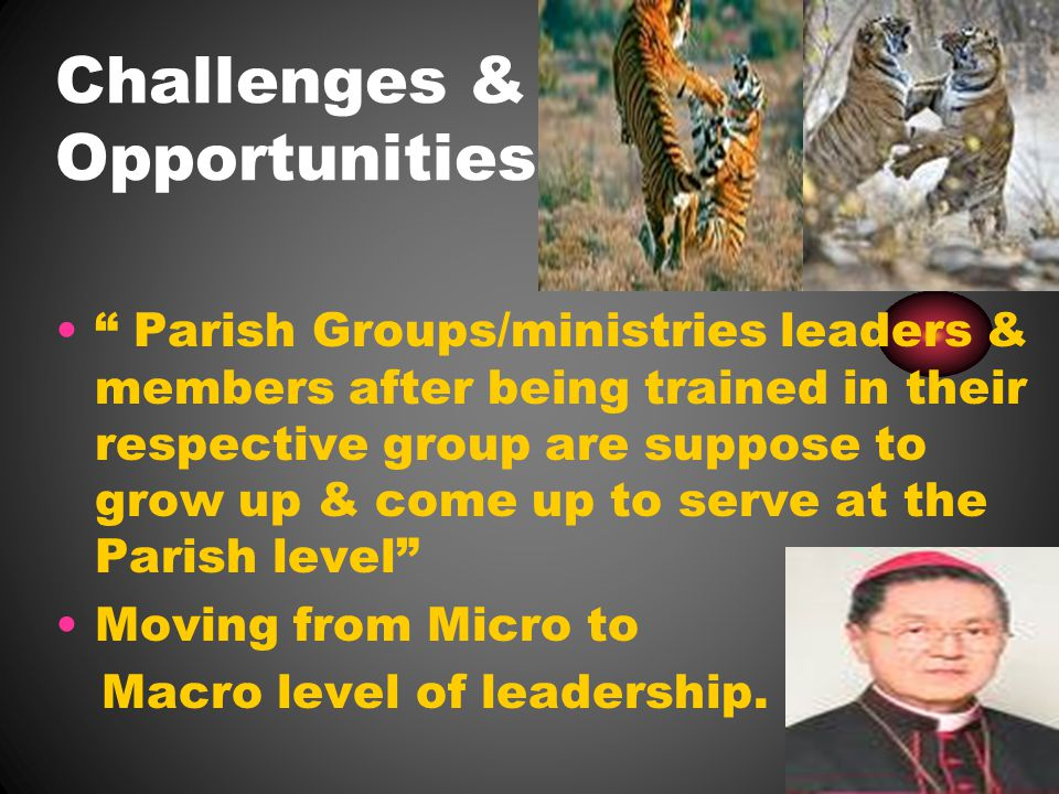 Challenges & Opportunities Parish Groups/ministries leaders & members after being trained in their respective group are suppose to grow up & come up to serve at the Parish level Moving from Micro to Macro level of leadership.