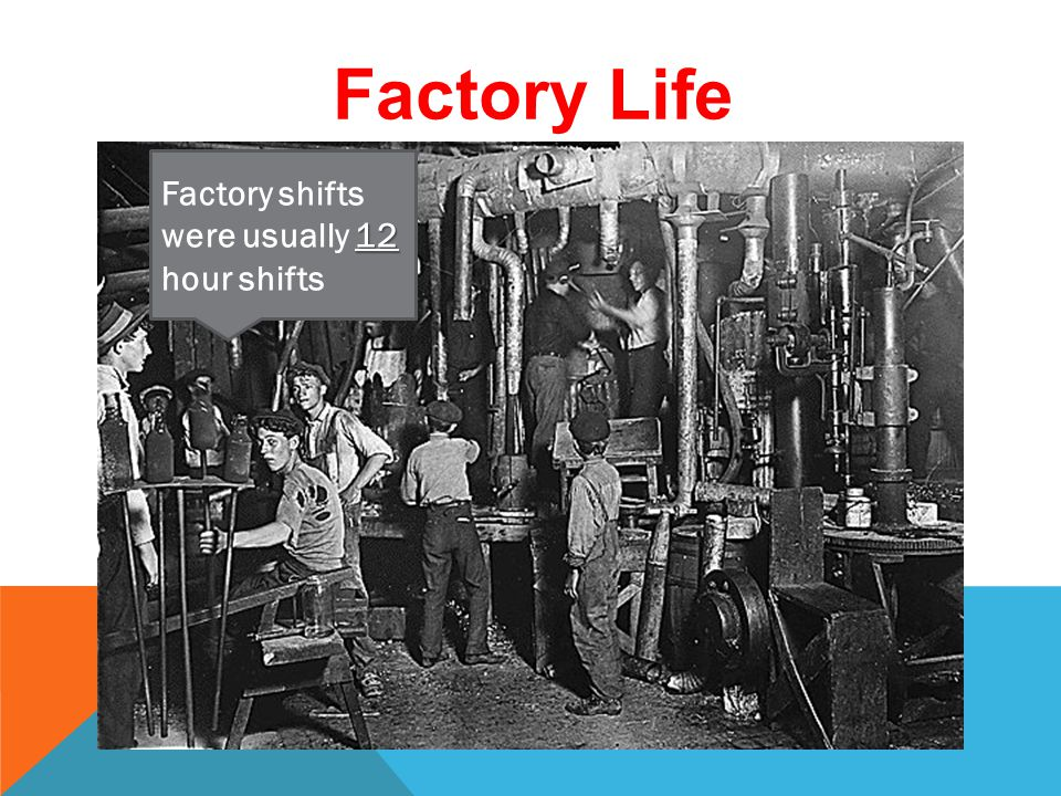 A BARGAIN FOR FACTORIES Women and children earned ½ the wage (pay) that the men did for the same job.