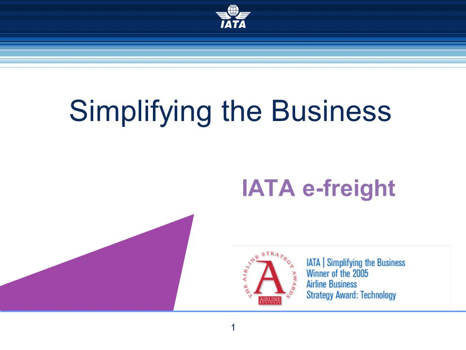 1 IATA e-freight Simplifying the Business