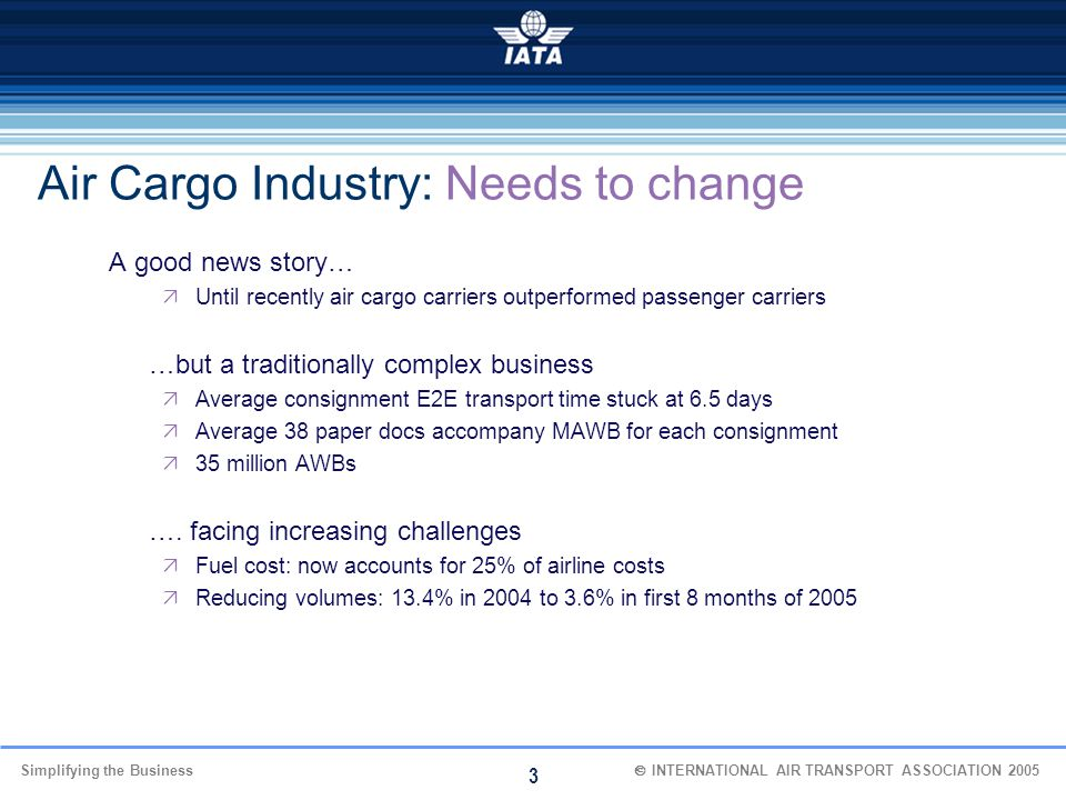 Simplifying the Business  INTERNATIONAL AIR TRANSPORT ASSOCIATION 2005 3 Air Cargo Industry: Needs to change A good news story…  Until recently ai