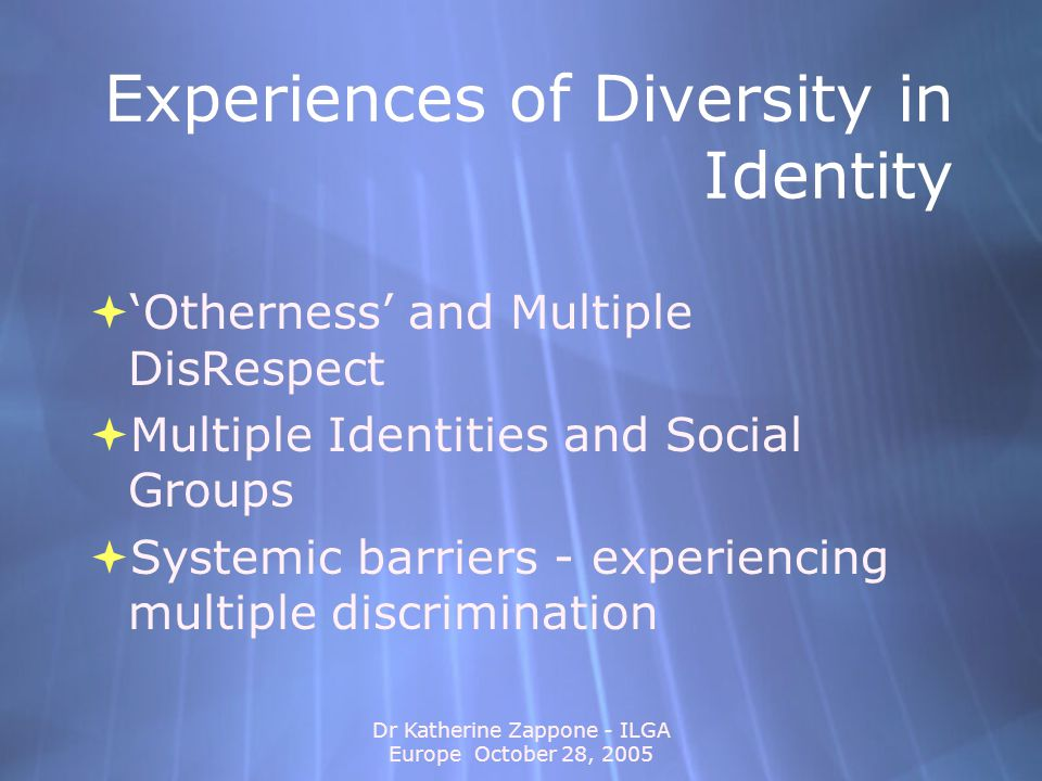 Dr Katherine Zappone - ILGA Europe October 28, 2005 Re-Thinking Diversity and Implications for Practice 1.The Individual - Assume Differences Within 2.Social Groups - Examine Differences Within 3.Social Institutions and Law - Apply an Integrated or Intersectional Approach 1.The Individual - Assume Differences Within 2.Social Groups - Examine Differences Within 3.Social Institutions and Law - Apply an Integrated or Intersectional Approach