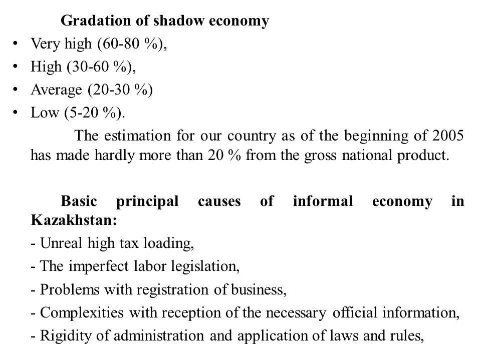 Gradation of shadow economy Very high (60-80 %), High (30-60 %), Average (20-30 %) Low (5-20 %). The estimation for our country as of the beginning of