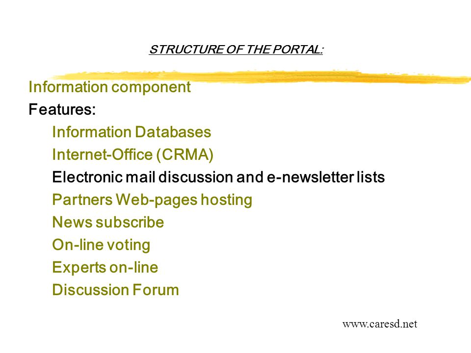 STRUCTURE OF THE PORTAL: Information component Features: Information Databases Internet-Office (CRMA) Electronic mail discussion and e-newsletter lists Partners Web-pages hosting News subscribe On-line voting Experts on-line Discussion Forum www.caresd.net
