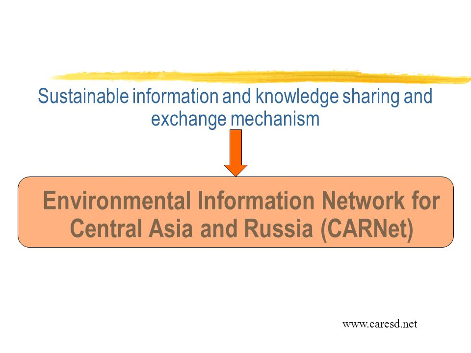 Sustainable information and knowledge sharing and exchange mechanism Environmental Information Network for Central Asia and Russia (CARNet) www.caresd.net