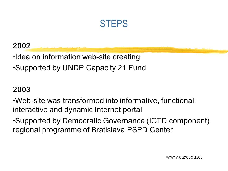 STEPS 2002 Idea on information web-site creating Supported by UNDP Capacity 21 Fund 2003 Web-site was transformed into informative, functional, interactive and dynamic Internet portal Supported by Democratic Governance (ICTD component) regional programme of Bratislava PSPD Center www.caresd.net