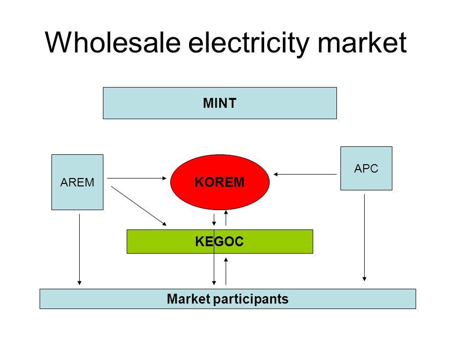Wholesale electricity market KOREM MINT KEGOC AREM APC Market participants