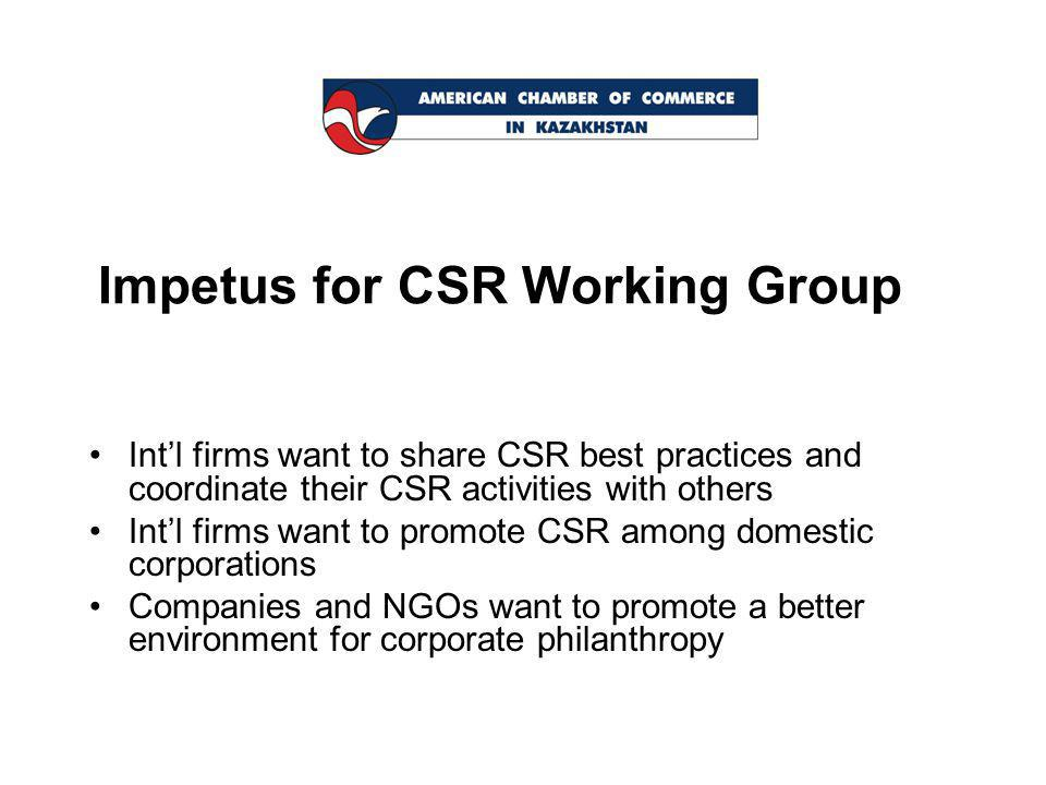 Impetus for CSR Working Group Int'l firms want to share CSR best practices and coordinate their CSR activities with others Int'l firms want to promote CSR among domestic corporations Companies and NGOs want to promote a better environment for corporate philanthropy