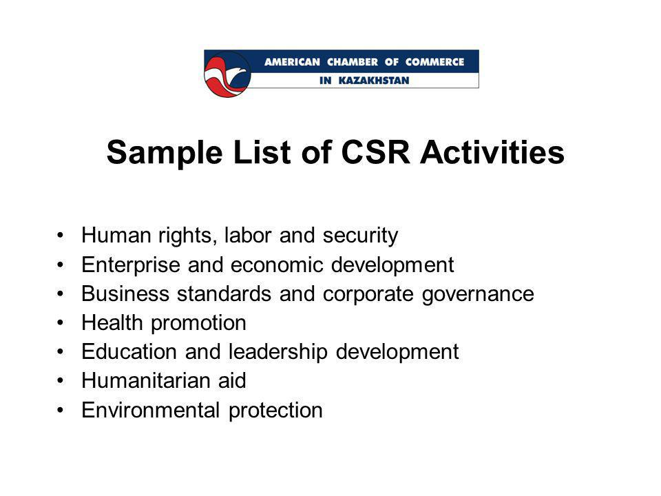 Sample List of CSR Activities Human rights, labor and security Enterprise and economic development Business standards and corporate governance Health promotion Education and leadership development Humanitarian aid Environmental protection