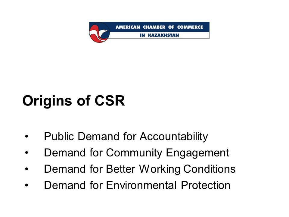 Origins of CSR Public Demand for Accountability Demand for Community Engagement Demand for Better Working Conditions Demand for Environmental Protection
