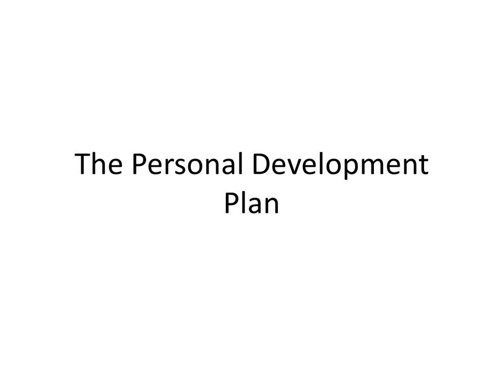 The Personal Development Plan