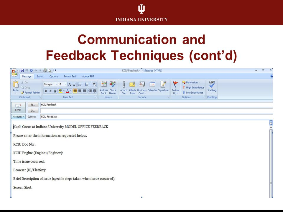 Communication and Feedback Techniques (cont'd)