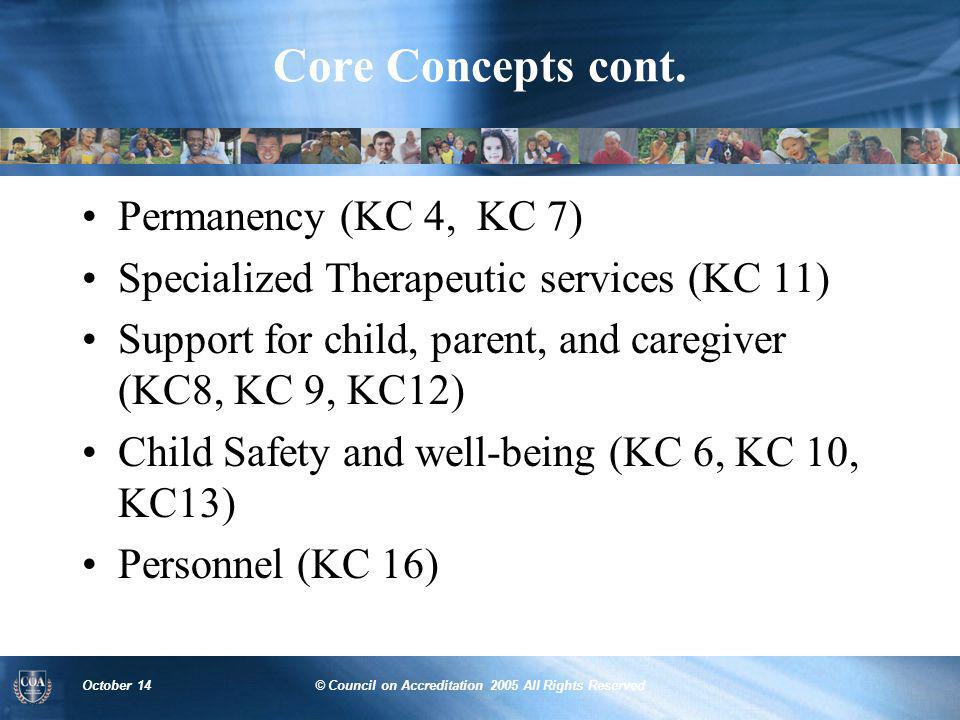 October 14© Council on Accreditation 2005 All Rights Reserved Core Concepts cont. Permanency (KC 4, KC 7) Specialized Therapeutic services (KC 11) Sup